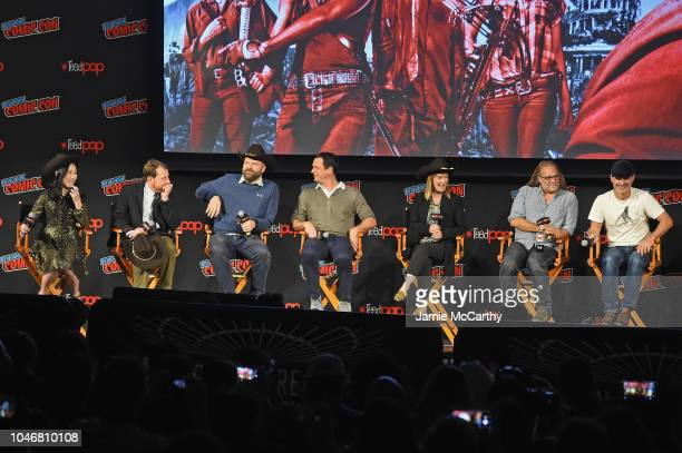 Angela Kang Scott M Gimple Robert Kirkman David Alpert Gale Anne Hurd Greg Nicotero and Andrew Lincoln speak onstage during the NYCC panel and fan...