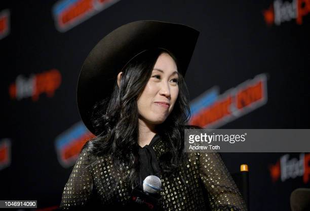 Angela Kang speaks onstage during The Walking Dead panel during New York Comic Con at The Hulu Theater at Madison Square Garden on October 6 2018 in...