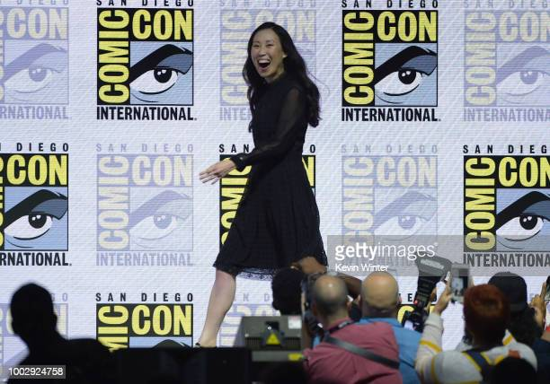Angela Kang walks onstage at AMC's 'The Walking Dead' panel during ComicCon International 2018 at San Diego Convention Center on July 20 2018 in San...