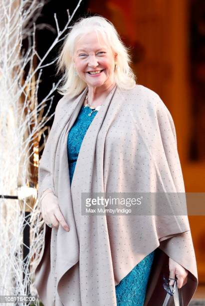 Angela Kelly leaves the Goring Hotel after attending a Christmas lunch hosted by The Queen for her close members of staff on December 11 2018 in...