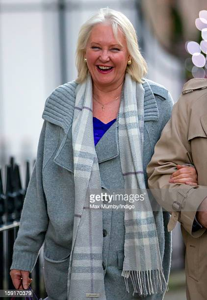 Angela Kelly leaves the Goring Hotel after attending a Christmas Lunch hosted by Queen Elizabeth II for her close members of staff on December 03...