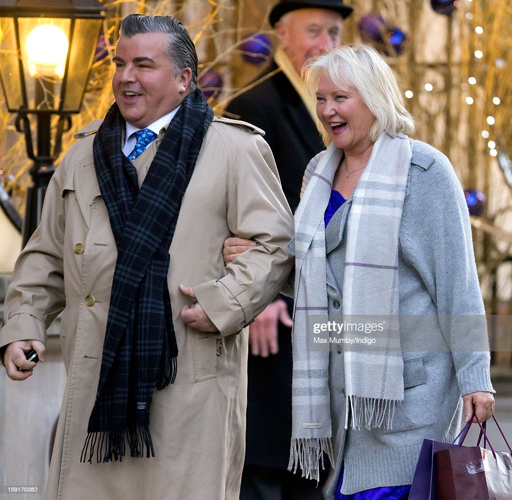 Angela Kelly (Personal Assistant and Senior Dresser to Queen Elizabeth II) (R) leaves the Goring Hotel after attending a Christmas Lunch hosted by Queen Elizabeth II for her close members of staff on December 03, 2012 in London, England.