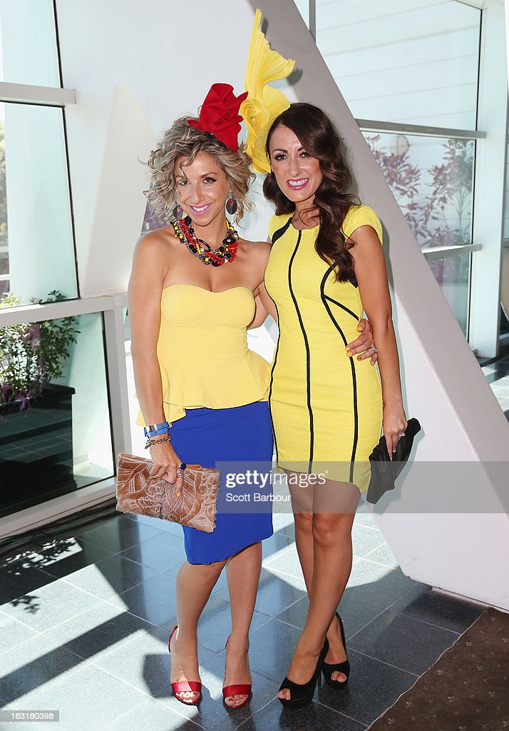 Angela Kennedy and Melina Bagnato from 'My Kitchen Rules' pose as they attend Flemington's Beautiful Girls Fashion Lunch on March 6, 2013 in Melbourne, Australia.