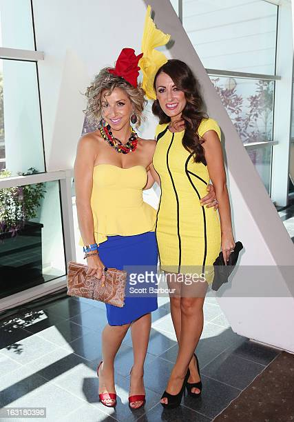 Angela Kennedy and Melina Bagnato from 'My Kitchen Rules' pose as they attend Flemington's Beautiful Girls Fashion Lunch on March 6, 2013 in...