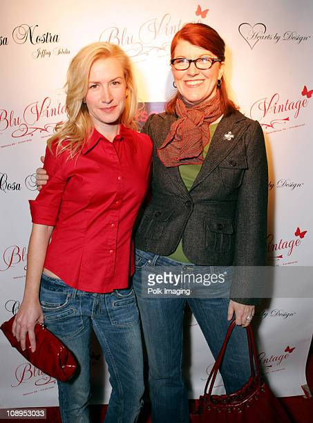 Angela Kinsey and Kate Flannery during Grand Opening of Blu Vintage Boutique at 1621 1/2 Montana Ave in Santa Monica California United States