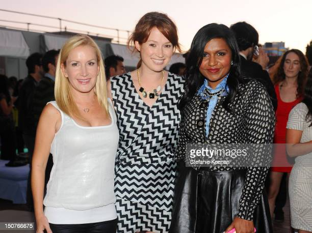 Angela Kinsey Ellie Kemper and Mindy Kaling attend Party To Celebrate 'The Mindy Project' at SkyBar at the Mondrian Los Angeles on August 25 2012 in...