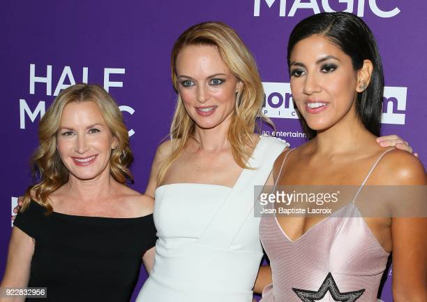 Angela Kinsey Heather Graham and Stephanie Beatriz attend the premiere of Momentum Pictures' 'Half Magic' at The London West Hollywood on February 21...