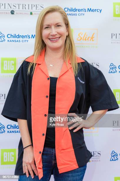 Angela Kinsey walks the Red Carpet before participating in bowling at Pinstripes during the Big Slick Celebrity Weekend benefitting Children's Mercy...
