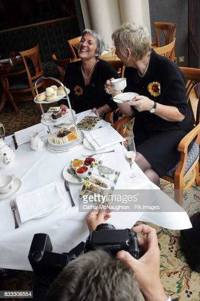 Angela Knowles and Tricia Stewart in the Royal Garden Hotel to launch Calendar Girls chocolates made by Yorkshire chocolatiers Whitakers bearing the...