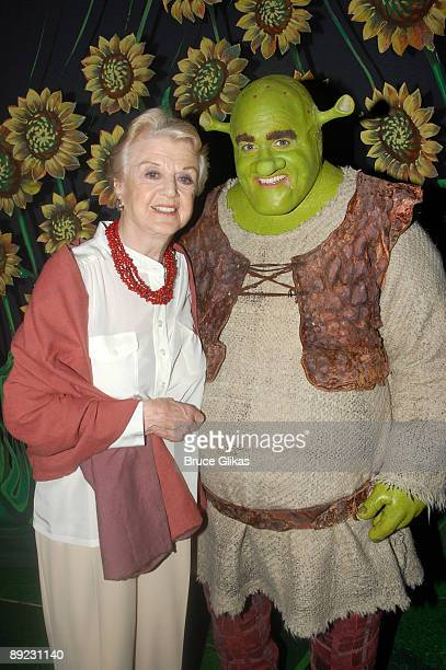"""Angela Lansbury and Brian d'Arcy James as """"Shrek"""" pose backstage at """"Shrek:The Musical"""" on Broadway at The Broadway Theater on July 23, 2009 in New..."""