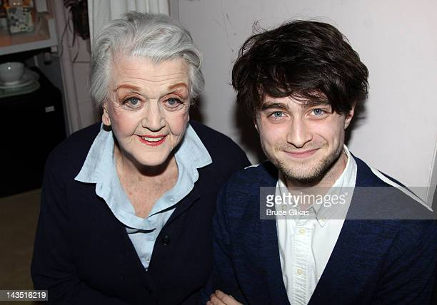 Angela Lansbury and Daniel Radcliffe pose backstage at the hit play 'Gore Vidal's The Best Man' on Broadway at The Gerald Schoenfeld Theatre on April...