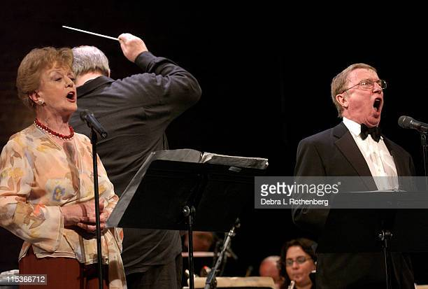 Angela Lansbury and George Hearn during Wall to Wall Sondheim at Symphony Space in New York City New York United States