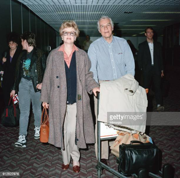 Angela Lansbury and husband Peter Shaw at London Airport 13th March 1990