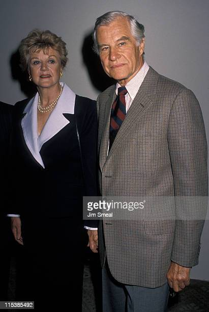 Angela Lansbury and Peter Shaw during Mother of the Year Luncheon May 4 1990 at Beverly Hilton Hotel in Beverly Hills California United States