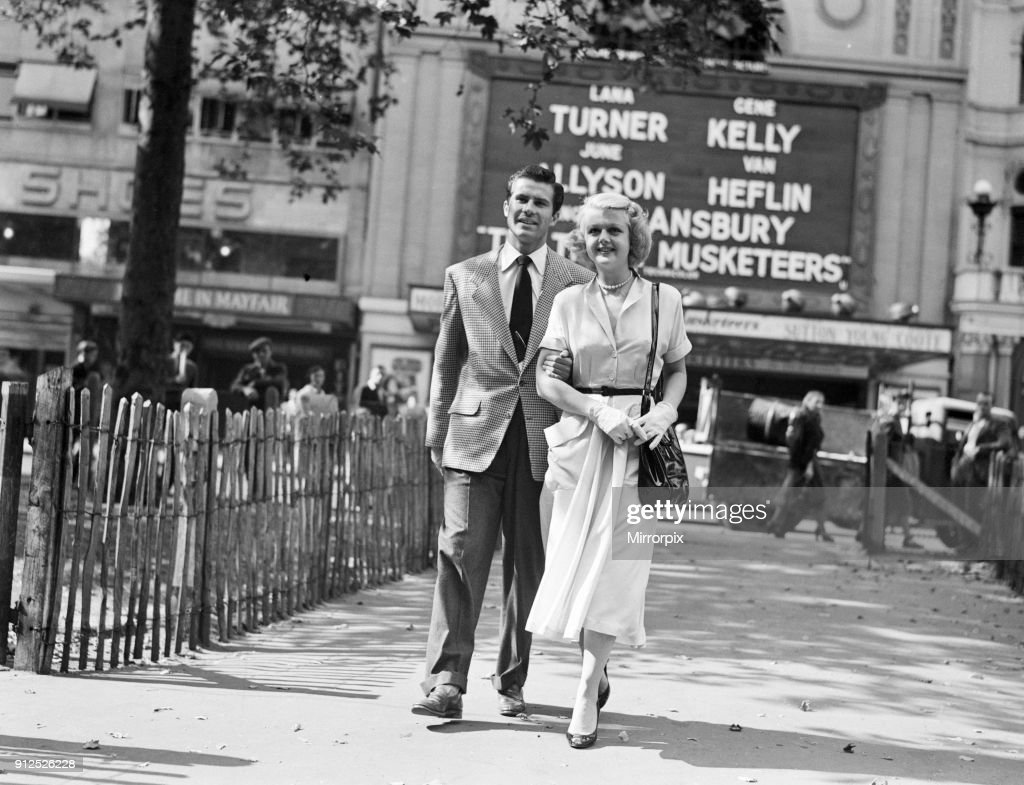 Angela Lansbury and Peter Shaw, pictured walking in Leicester Square, London 26th July 1949.