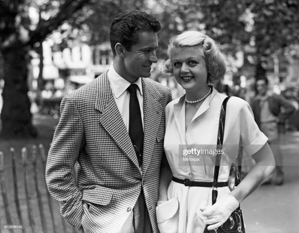 Angela Lansbury and Peter Shaw, who are in London for their wedding, 26th July 1949.