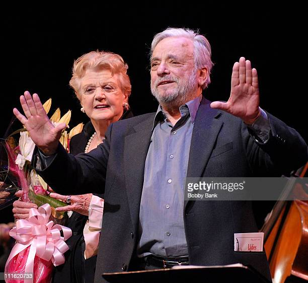 Angela Lansbury and Stephen Sondheim are seen at The Acting Company's 35th Anniversary Celebration 'The Ladies Who Sing Sondheim' at the Schoenfeld...