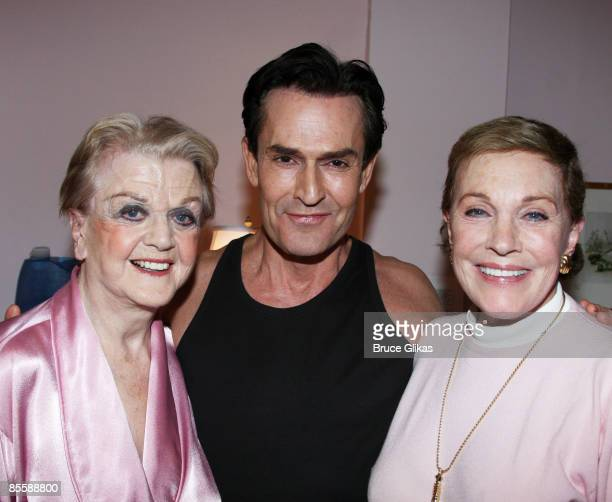 Angela Lansbury Rupert Everett and Julie Andrews pose backstage at Blithe Spirit on Broadway at The Shubert Theater on March 24 2009 in New York City