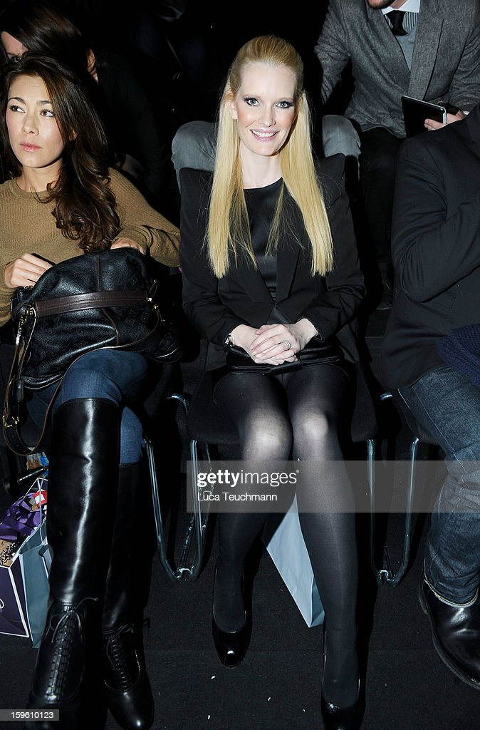 Angela Lanz (L) and Mirja Dumont attend Marcel Ostertag Autumn/Winter 2013/14 fashion show during Mercedes-Benz Fashion Week Berlin at Brandenburg Gate on January 17, 2013 in Berlin, Germany.