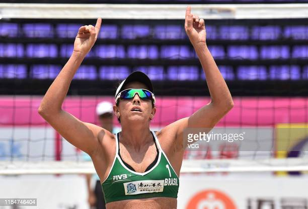 Angela Lavalle of Brazil celebrates a point in the Women's Semifinal match against Agata Zuccarelli and Gaia Traballi of Italy during the FIVB Beach...