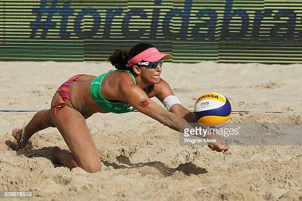 Angela Lavalle of Brazil in action during main draw match against Brazil during the FIVB Fortaleza Open on Futuro Beach on April 30 2016 in Fortaleza...