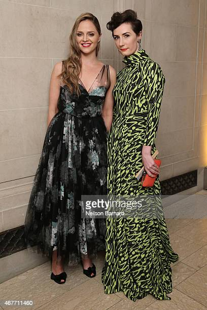 Angela Ledgerwood and Charlotte Greennough attend the The Frick Collection 2015 Young Fellows Ball A Dance at the Spanish Court sponsored by LANVIN...