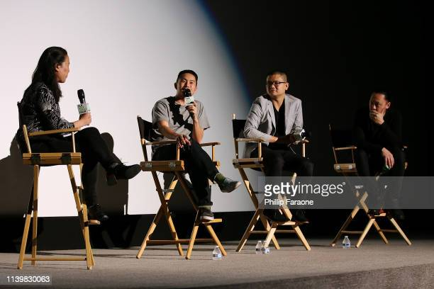 Angela Lee Justin Chon Ante Cheng and Alan Pao speak onstage during the Film Independent Forum Saturday Night Screening of Ms Purpleâ at Harmony Gold...