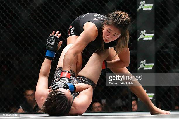Angela Lee of Singapore fights Mei Yamaguchi of Japan for the women's atomweight world championship during One Championship Ascent to Power at...