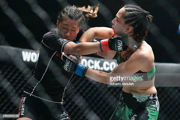 Angela Lee of Singapore fights Natalie Gonzales Hills of Philippines in the Women's Strawweight bout during the One Nation Pride of Lions at...