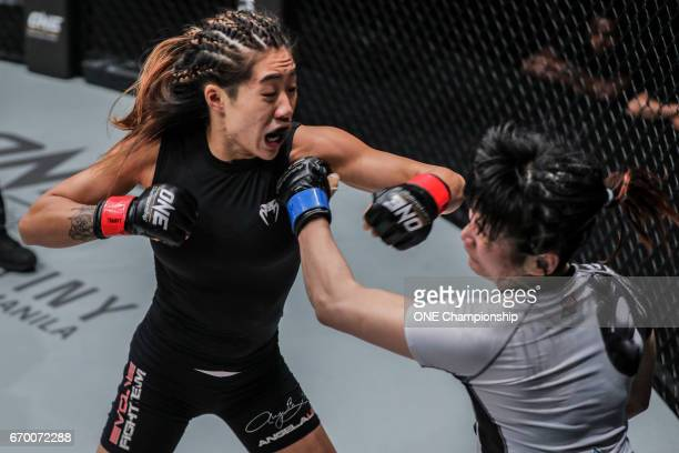 Angela Lee turning in a masterful display of striking against Jenny Huang during the ONE Championship Warrior Kingdom event at the Impact Arena on...