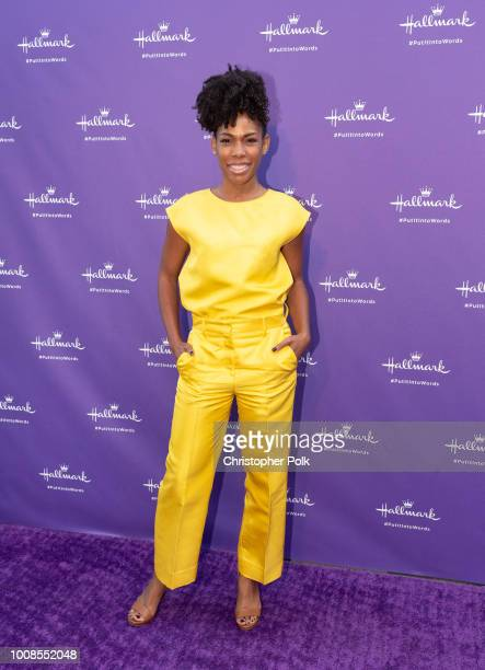 Angela Lewis arrives to the launch party for Hallmark's 'Put It Into Words' Campaign at Lombardi House on July 30 2018 in Los Angeles California