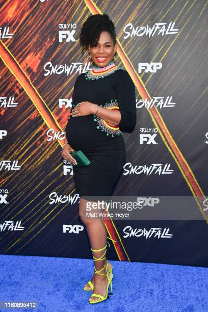 """Angela Lewis attends the premiere of FX's """"Snowfall"""" season 3 at Bovard Auditorium At USC on July 08, 2019 in Los Angeles, California."""