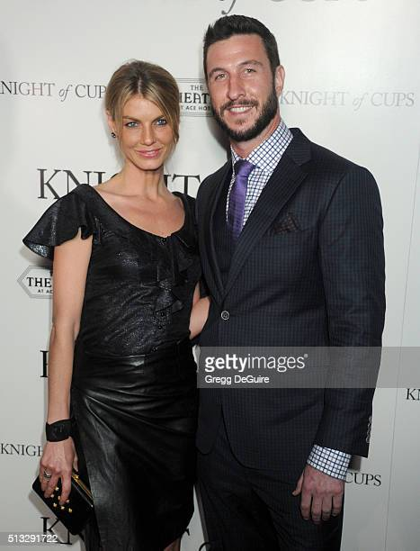 Angela Lindvall and Pablo Schreiber arrive at the premiere of Broad Green Pictures' 'Knight Of Cups' on March 1 2016 in Los Angeles California