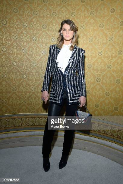 Angela Lindvall attends the Balmain show as part of the Paris Fashion Week Womenswear Fall/Winter 2018/2019 on March 2 2018 in Paris France