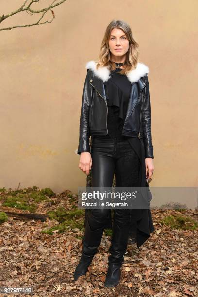 Angela Lindvall attends the Chanel show as part of the Paris Fashion Week Womenswear Fall/Winter 2018/2019 at Le Grand Palais on March 6 2018 in...