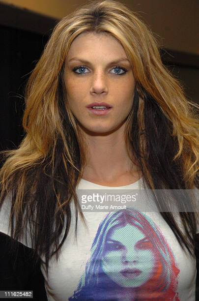 Angela Lindvall backstage at Diesel Fall 2006 during Olympus Fashion Week Fall 2006 Diesel Front Row and Backstage at Hammerstein Ballroom in New...