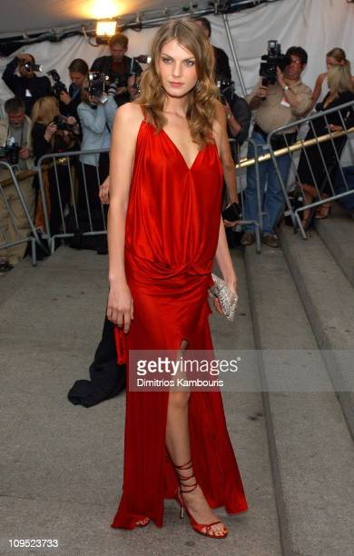 Angela Lindvall during Costume Institute Benefit Dance 'Party of the Year' Arrivals at Metropolitan Museum of Art in New York City New York United...
