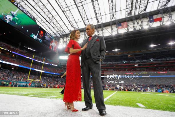 Angela Macuga and Atlanta Falcons owner Arthur Blank look on prior to Super Bowl 51 against the New England Patriots at NRG Stadium on February 5...