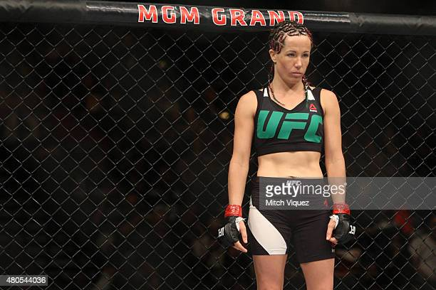Angela Magana enters the Octagon for her fight against Michelle Waterson in their women's strawweight bout during the Ultimate Fighter Finale inside...
