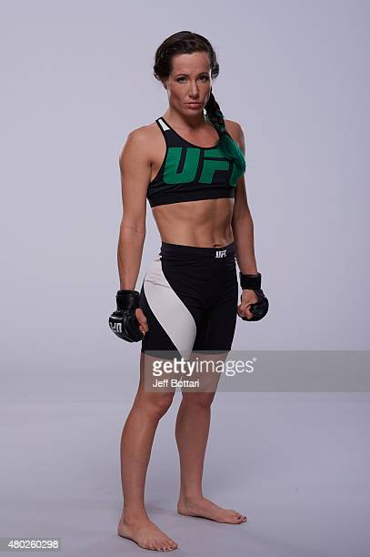 Angela Magana poses for a portrait during a UFC photo session inside the MGM Grand Garden Arena on July 9 2015 in Las Vegas Nevada