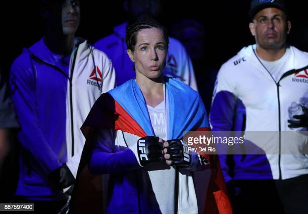 Angela Magana prepares to walk out into the arena to face Amanda Cooper during the UFC 218 event at Little Caesars Arena on December 2 2017 in...