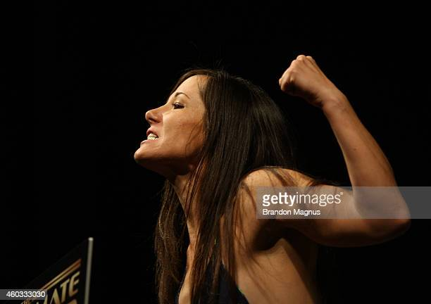 Angela Magana steps on the scale during The Ultimate Fighter Finale weighins at the Palms Casino Resort on December 11 2014 in Las Vegas Nevada