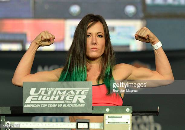 Angela Magana steps onto the scale during the TUF 21 Finale Weighin at the UFC Fan Expo in the Sands Expo and Convention Center on July 11 2015 in...