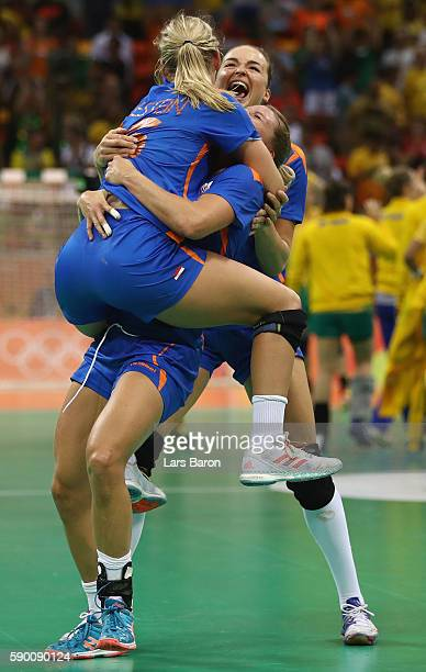 Angela Malestein of Netherlands Nycke Groot of Netherlands and Yvette Broch of Netherlands celebrate during the Womens Quarterfinal match between...
