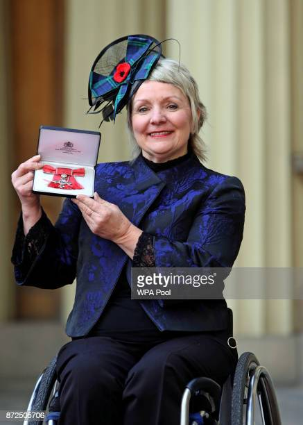 Angela Malone after she was awarded an MBE by the Duke of Cambridge at an Investiture ceremony at Buckingham Palace on November 10 2017 in London...