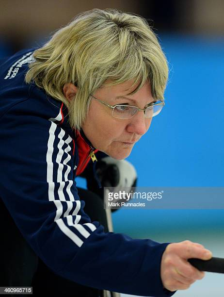 Angela Malone in action during the ParalympicsGB Wheelchair Curling Training Day on 6th January 2014 in Hamilton Scotland