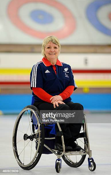 Angela Malone poses for a picture during the ParalympicsGB Wheelchair Curling Training Day on 6th January 2014 in Hamilton Scotland