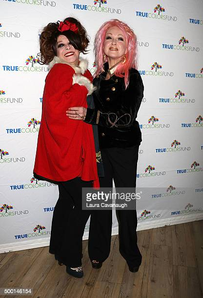 Angela McCluskey and Cyndi Lauper attend the 5th Annual 'Cyndi Lauper And Friends Home For The Holidays' Benefit Concert at The Beacon Theatre on...