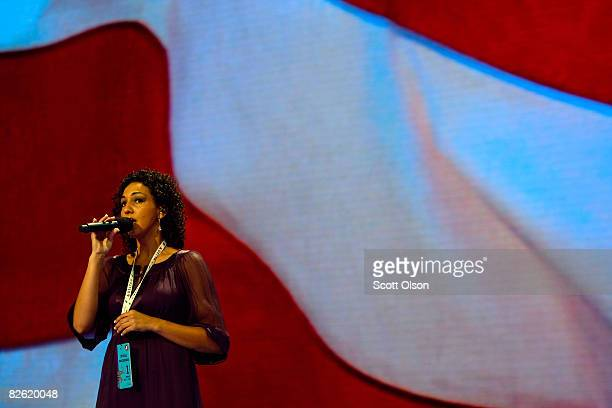 Angela McDermott Miss Minnesota 2008 rehearses singing the National Anthem on day one of the Republican National Convention at the Xcel Energy Center...