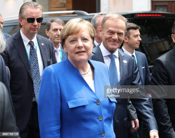 Angela Merkel at the G7 Taormina summit on the island of Sicily on May 26 2017 in Taormina Italy Leaders of the G7 group of nations which includes...